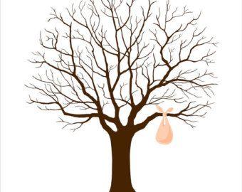 Great Guest Book Ideas Fingerprint Tree Unique Baby Shower By Bleudetoi