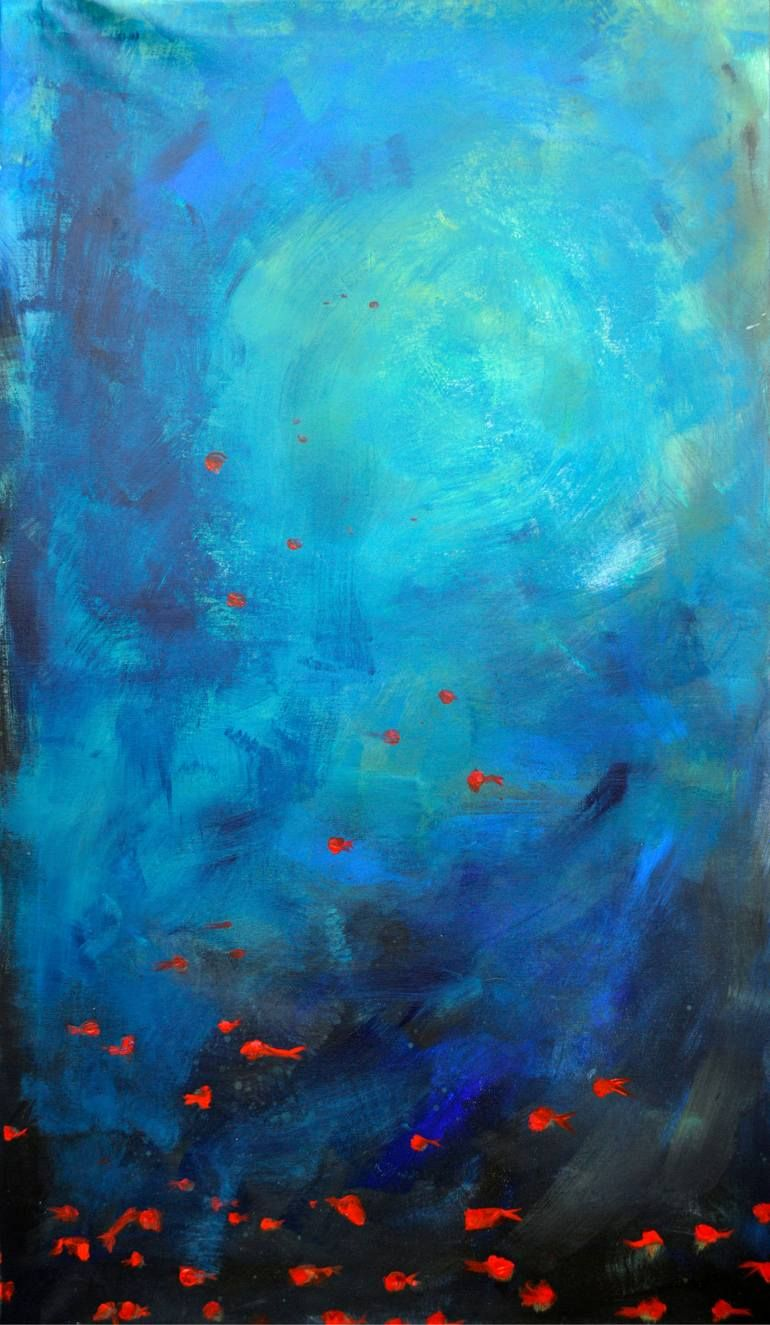 Deep Blue Ocean Art Print Abstract Fish Painting Ocean Painting