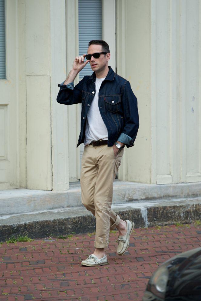 Men S Navy Denim Jacket White Crew Neck T Shirt Beige Chinos Beige Leather Boat Shoes Navy Denim Jacket Khaki Pants Men Leather Jacket Men