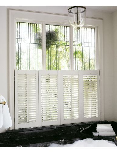 2 1 2 Louver Wood Cafe Shutters Color Soft White 12908