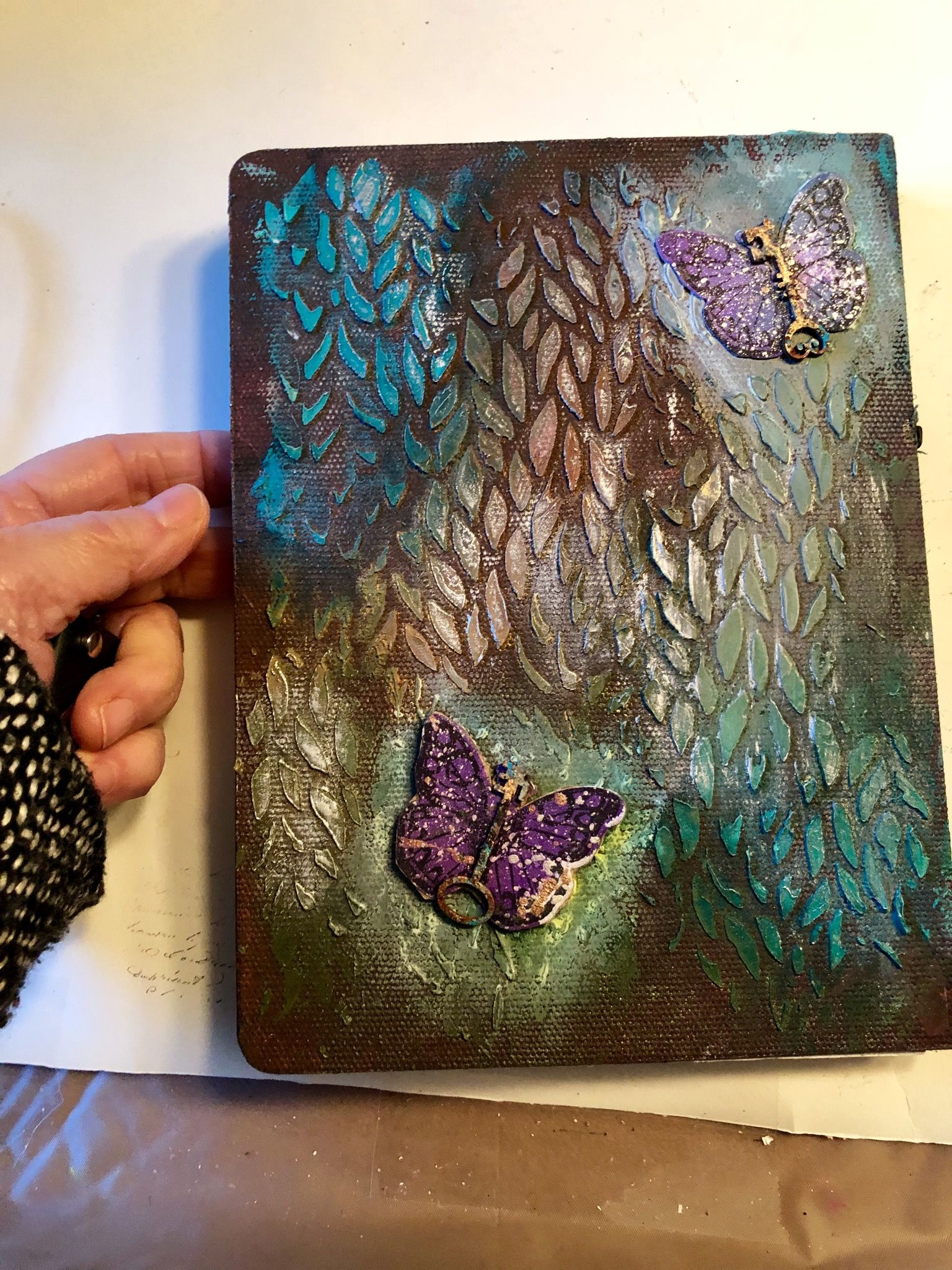 Back of journal coverbutterflies and leaves journal
