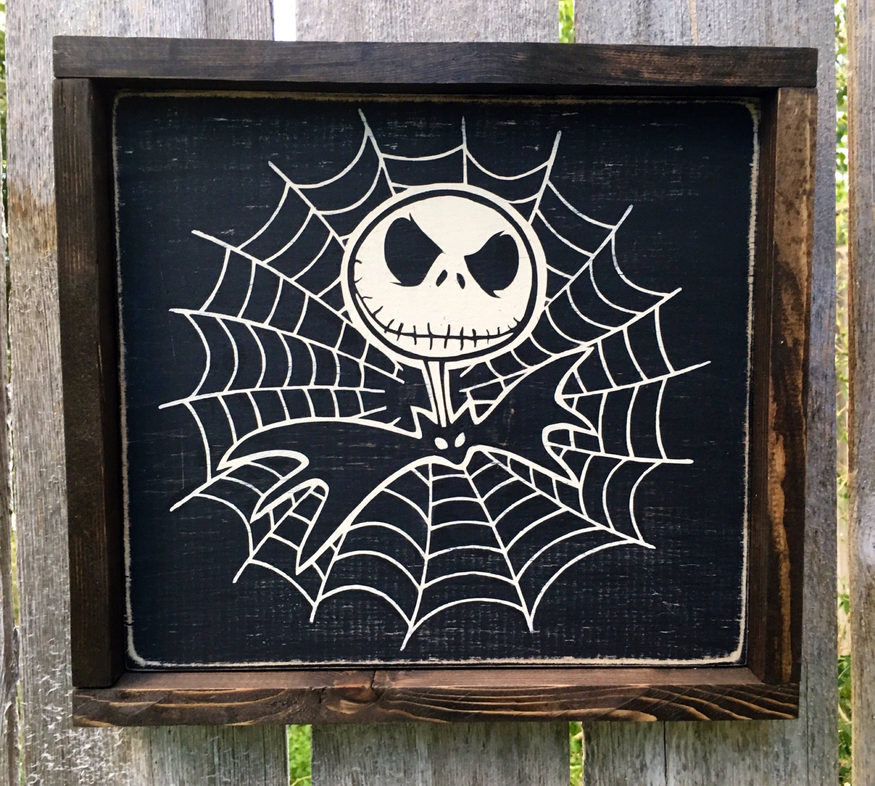 Hand Painted Jack Skellington With Reclaimed Wood Frame