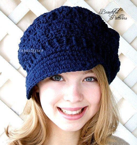 Crochet Hat Pattern Teens Newsgirl Newsboy Slouchy Hat PDF 160 12 ...