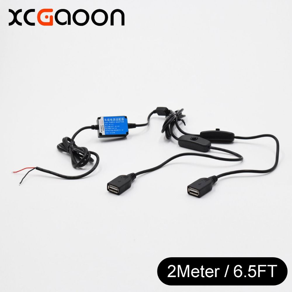 Car DC-DC Converter Module With 2 USB Port Cable + Switch