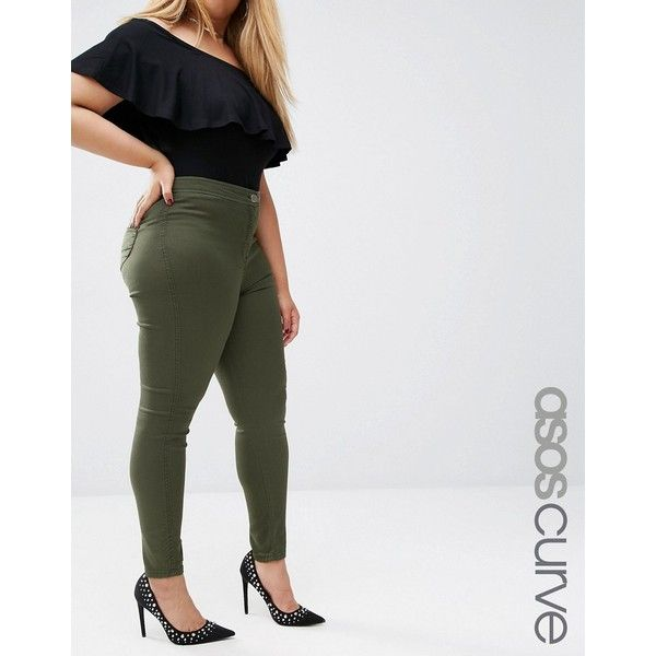 genuine pretty cool latest selection ASOS CURVE Rivington Jeggings In Khaki (47 NZD) ❤ liked on ...