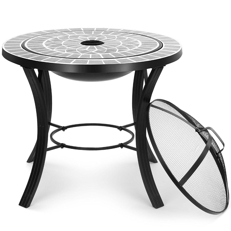 Dark Grey Mosaic Fire Pit Fire Pit Coffee Table Mosaic Table Top Mosaic Table