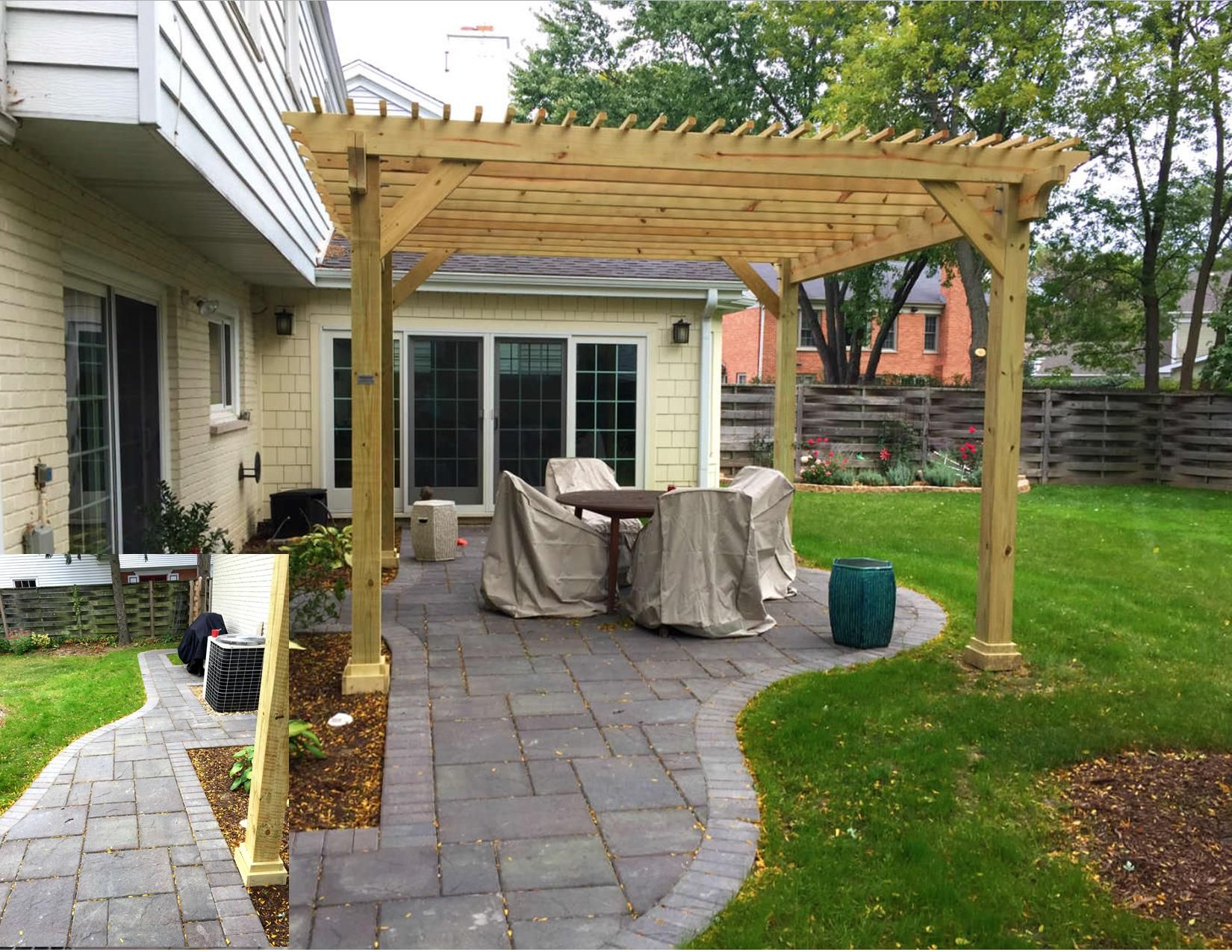 belgard paver patio with pergola combination in deerfield il by