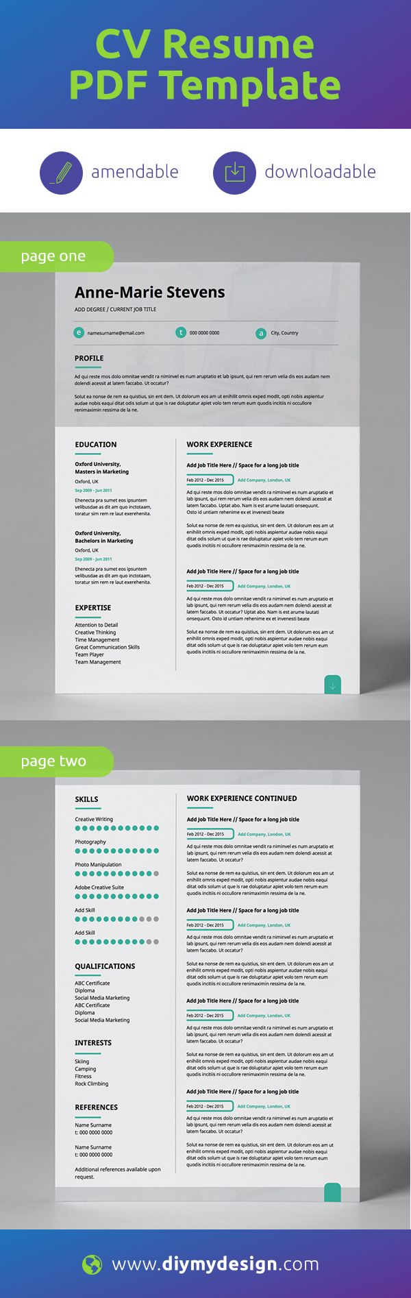 Modern Resume Template CV Template Corporate Resume