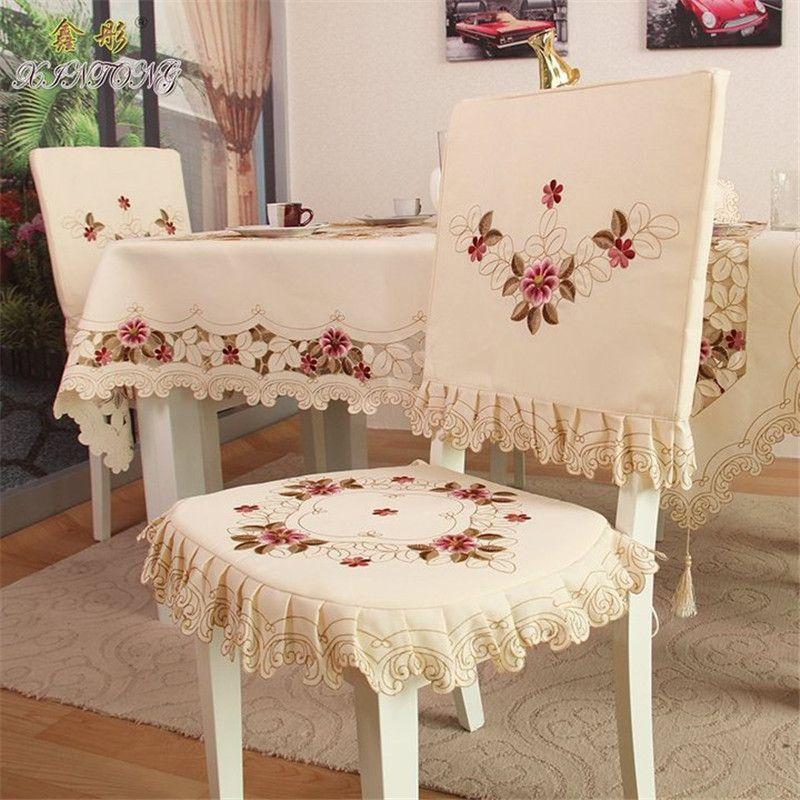 Barato Pastoral Europeia Oca Out Bordado Tecido Cadeira Conjunto
