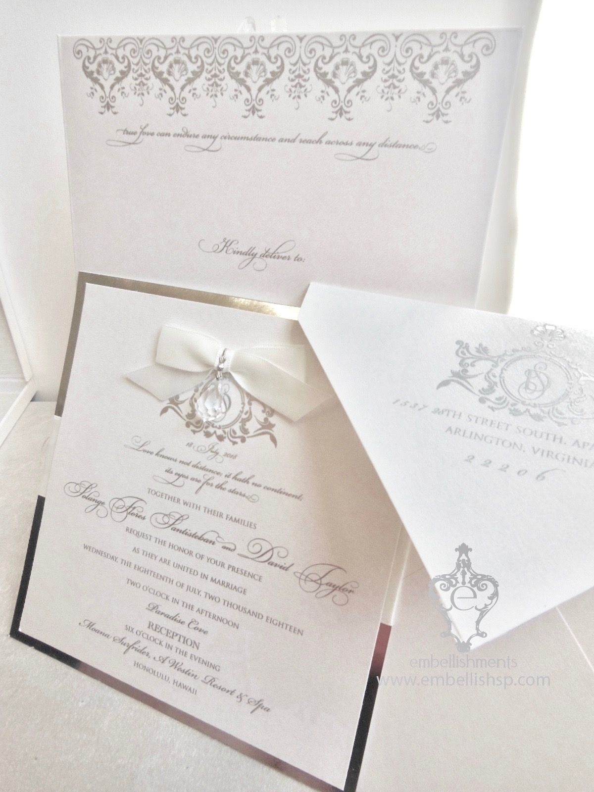 Versailles Wedding invitation in silver with hanging crystal xo ...
