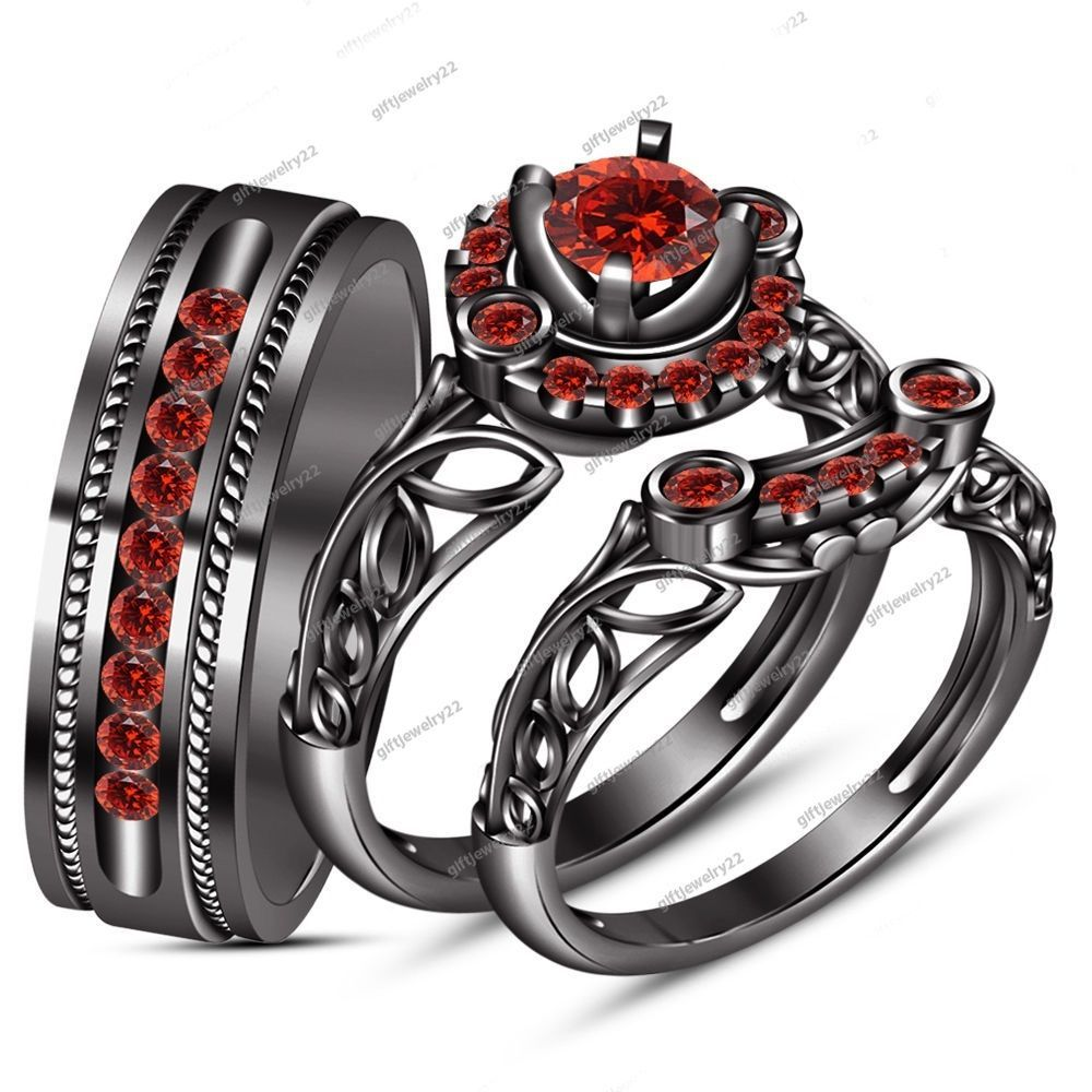 9k Black Gold His Her Mens Women S Red Garnet Wedding Ring Bands Trio Bridal Set