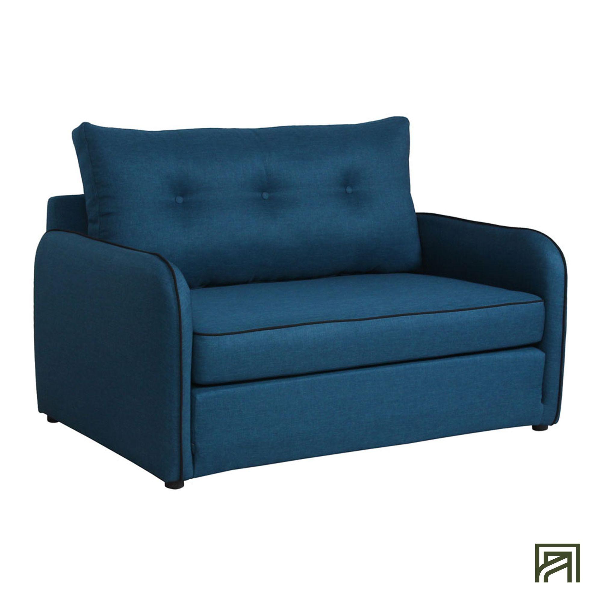 Vinyl Canapé convertible déplimousse 2 places en tissu bleu