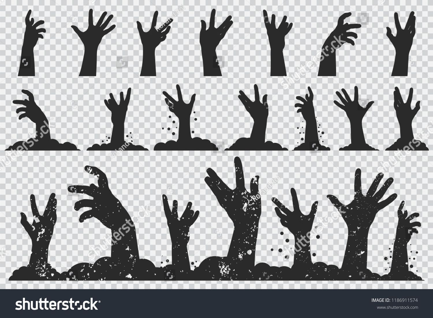 Zombie Hands Black Silhouette Vector Halloween Icons Set Isolated On A Transparent Background Sponsored Spon Zombie Hand Black Silhouette Halloween Icons