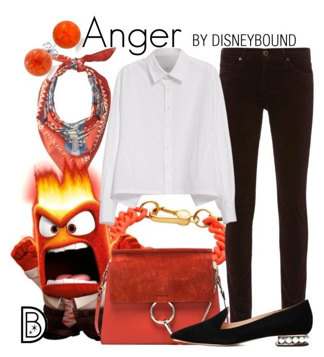 """""""Anger"""" by leslieakay ❤ liked on Polyvore featuring Marc by Marc Jacobs, AG Adriano Goldschmied, Pendleton, Bling Jewelry, Y's by Yohji Yamamoto, Chloé, Nicholas Kirkwood, disney, disneybound and disneycharacter"""