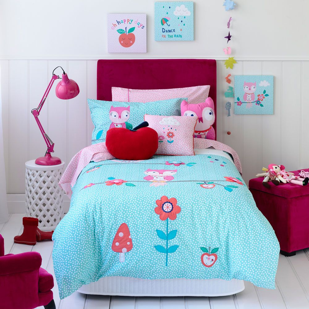 Kids Bedroom Linen adairs kids girls alice owl - bedroom quilt covers & coverlets