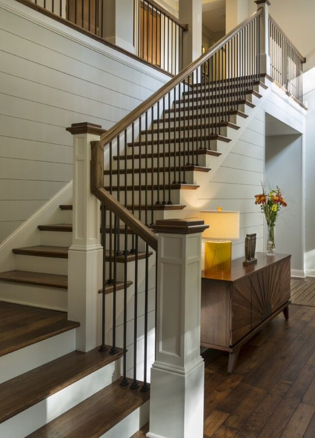Wooden Railing And Metal Spindle, White Newell Post