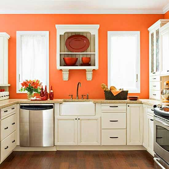 What Color To Paint Kitchen Walls: Great Color...and I Love The Wallmounted Shelving