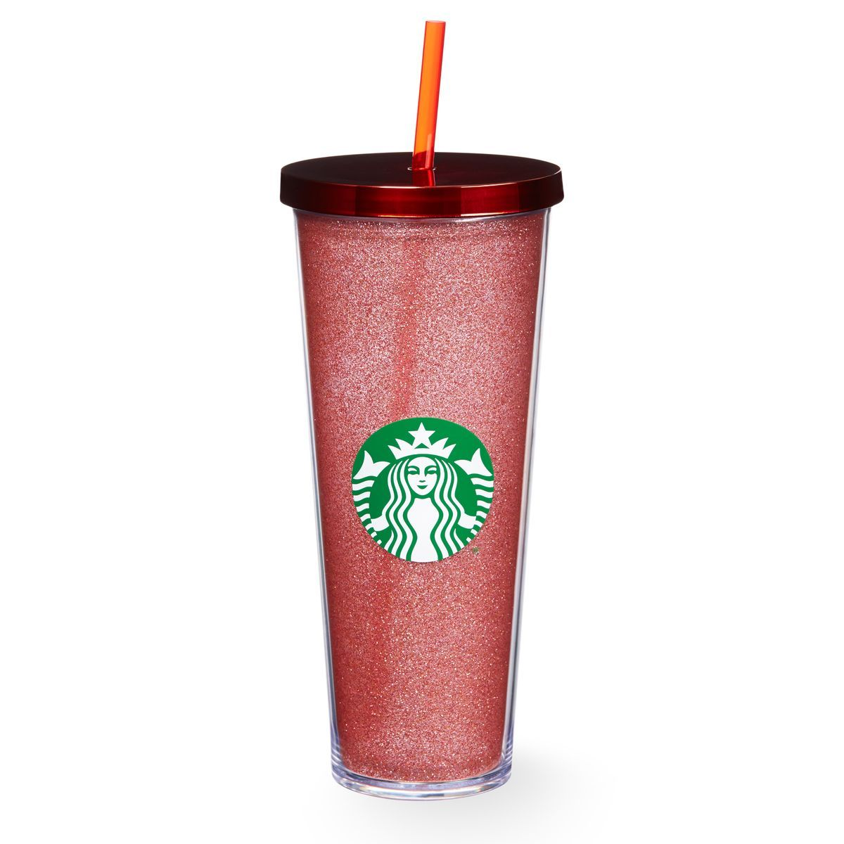 A sturdy, Ventisize plastic Cold Cup covered with red