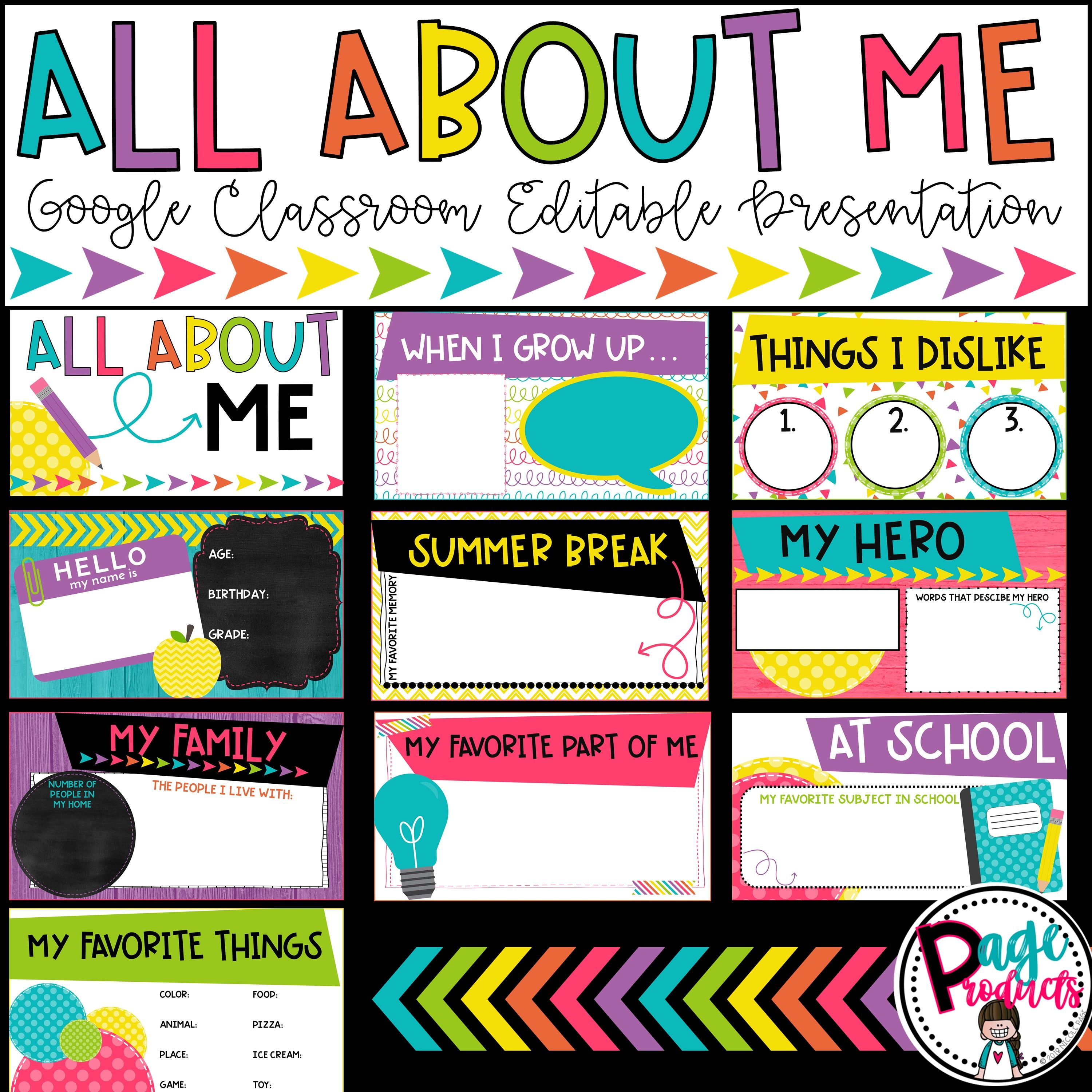 All About Me Editable Google Classroom Presentation Google Classroom About Me Activities All About Me Activities