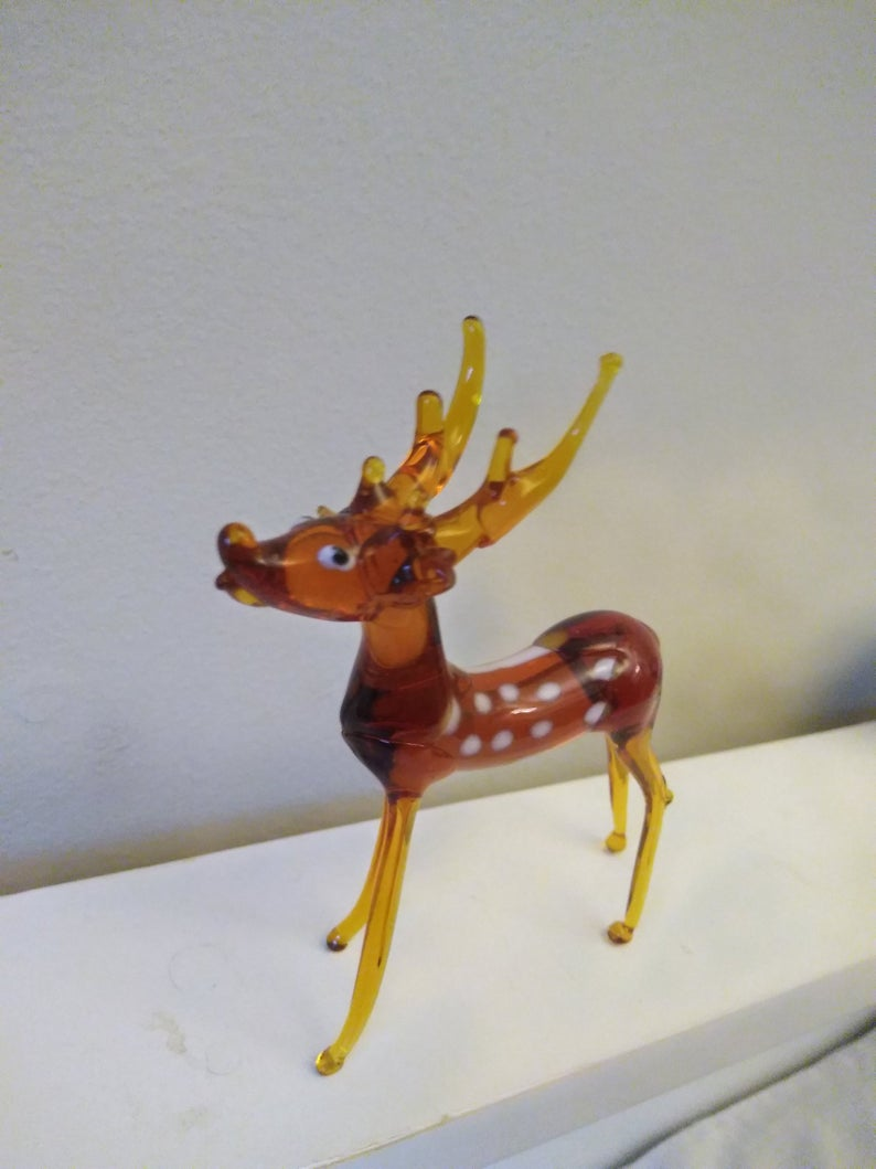 Vintage Glass Collectible Deer Figurine Curious Cabinet Etsy Glass Collection Glass Figurines Figurines