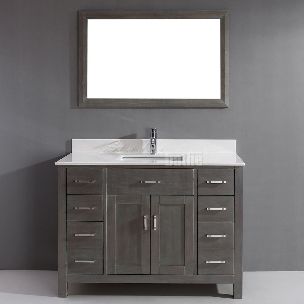 Distressed Bathroom Cabinet Traditional Bathroom Vanity Kalize 48 French Gray Finish Hand