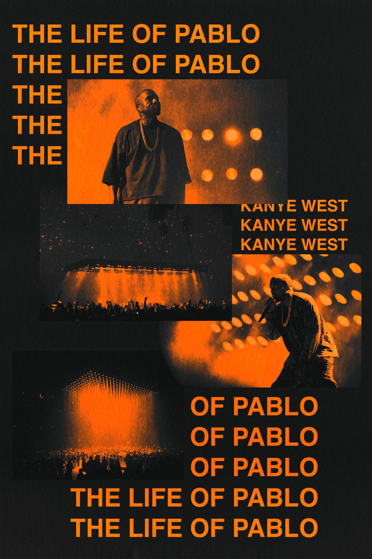 Kanye West 'TLOP' Black x Orange Poster - 16 x 24