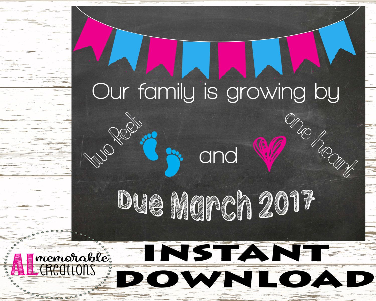 Pregnancy Announcement Photo PropTwo Feet and One HeartExpecting – Etsy Baby Announcements