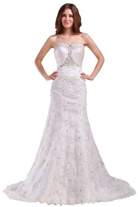 GEORGE BRIDE Sexy Mermaid Lace Over Satin Chapel Train Bridal Gowns