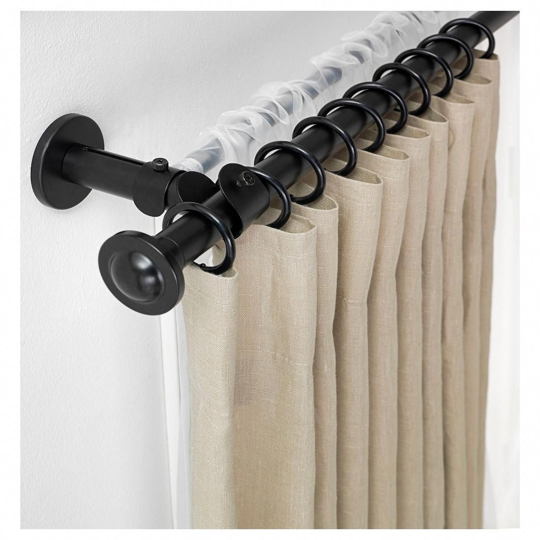 Storslagen Double Curtain Rod Set Black 47 1 4 82 5 8 Ikea In 2020 Double Curtain Rod Set Double Rod Curtains Double Curtains