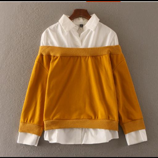 قمصان نسائية رسمية شتوية قمصان من القطن الابيض السكري مبطنة بالصوف بستايل الاكمام المنخفضة قمصان سادة متوفرة Winter Formal Cheer Skirts Shirts