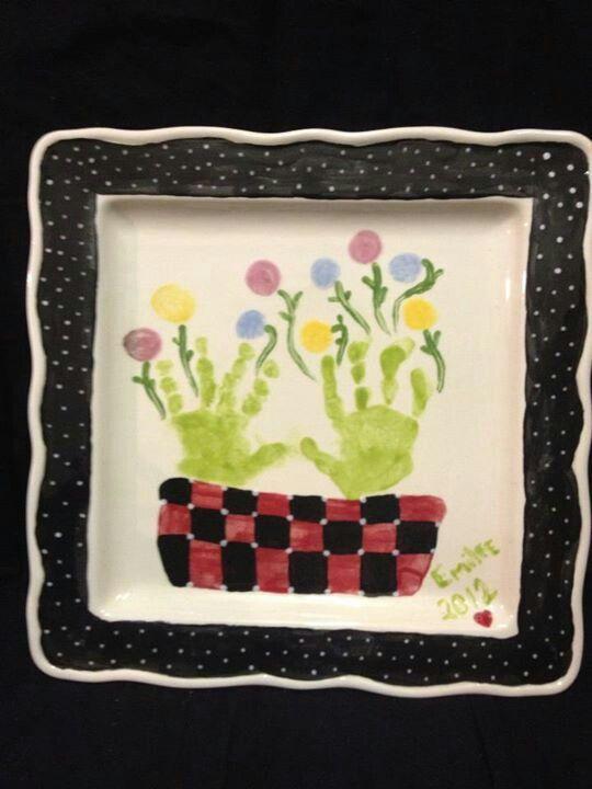 Mothers day handprint flower plate