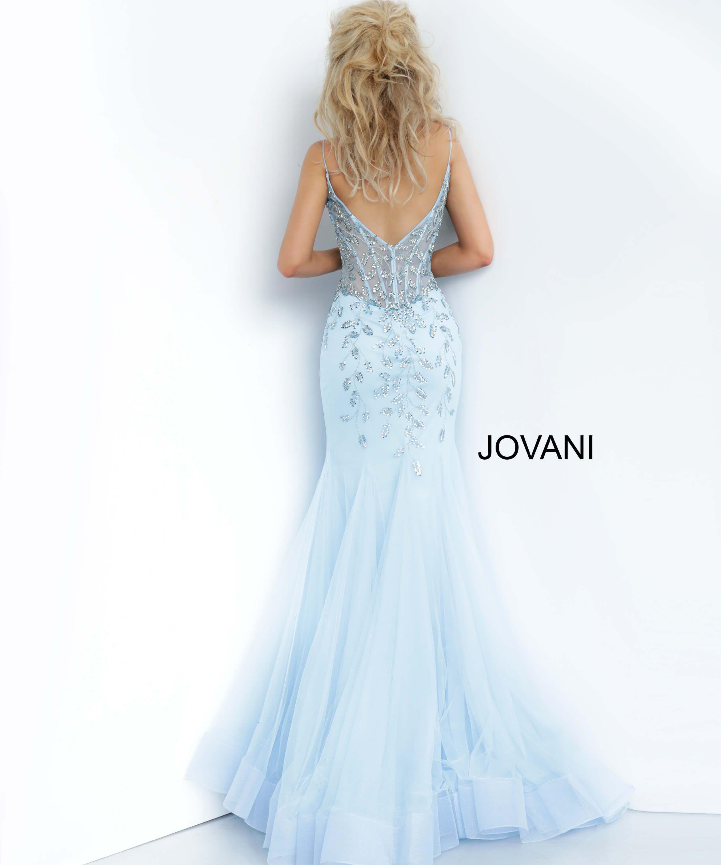 Jovani 63704 Blue Sheer Corset Bodice Prom Dress In 2021 Prom Dresses Prom Dresses Jovani Embellished Dress Prom [ 3000 x 2500 Pixel ]