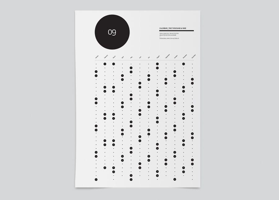 2009 Calendar Minimalissimo Graphic Design Calendar Calendar