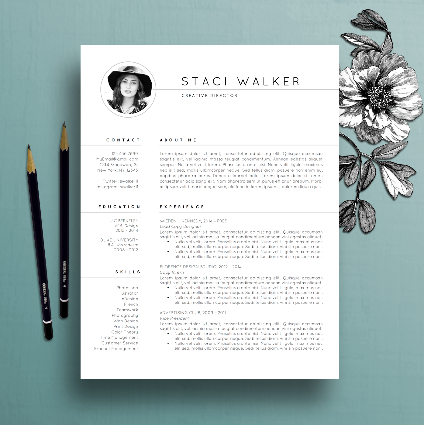 modern resume template 3pk  cv template   references