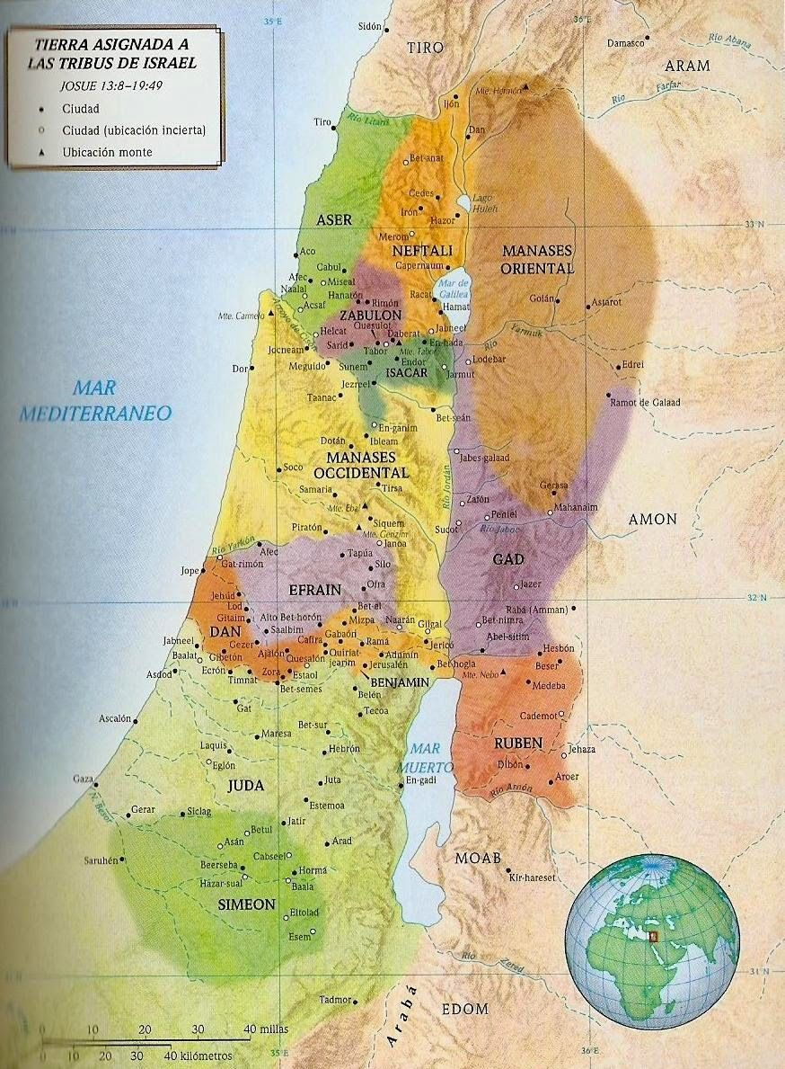Tierras Asignadas A La Tribus De Israel Con Imagenes Mapa De