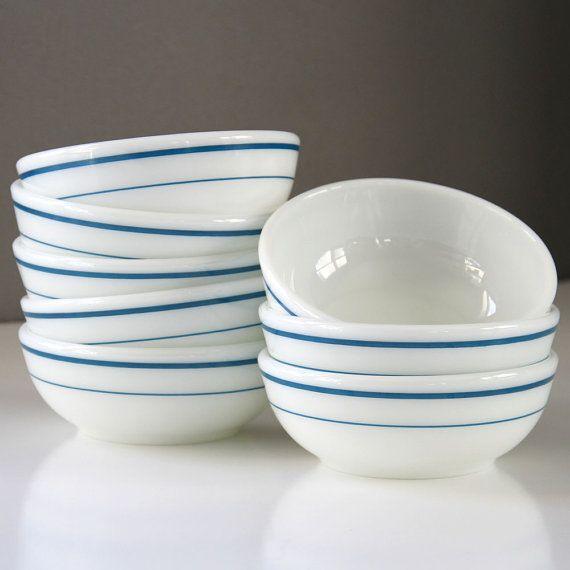 Brahma Kumaris Positive Thinking Quotes: 6 Vintage Pyrex Tableware Blue Band Rimless Bowls