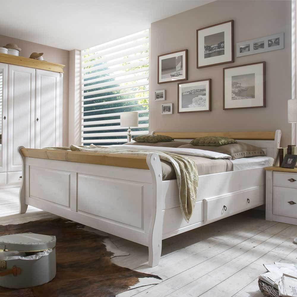 Doppelbett in Weiß Kiefer massiv Schlafzimmer