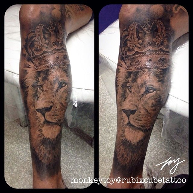 lion tattoo king crown blackadngrey realistic by. Black Bedroom Furniture Sets. Home Design Ideas