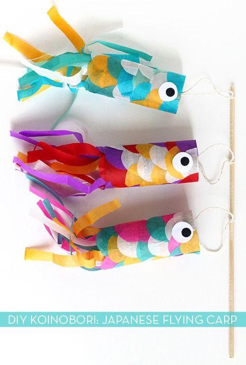 basteln mit toilettenpapierrollen aus und papier japanische fliegende kois koinobori klopapierrollen zu ostern