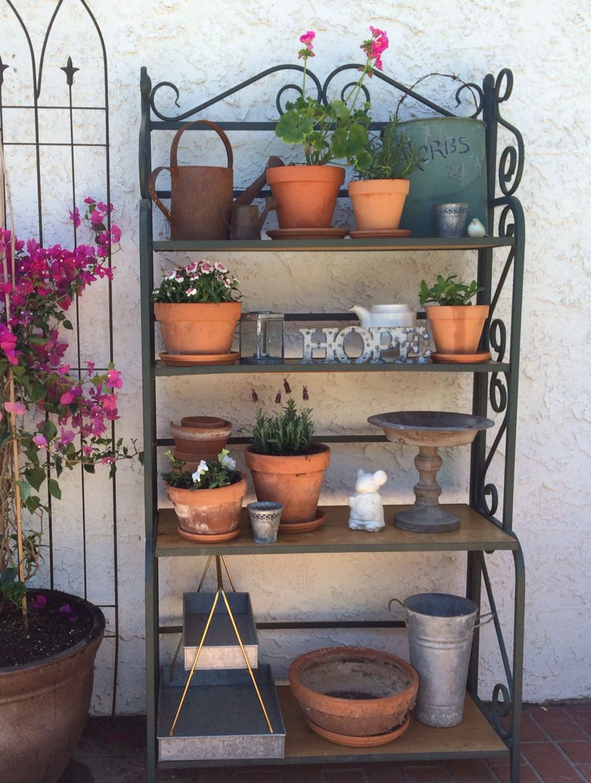 Repurposed Bakers Rack This Turned Into A Great Garden Shelf