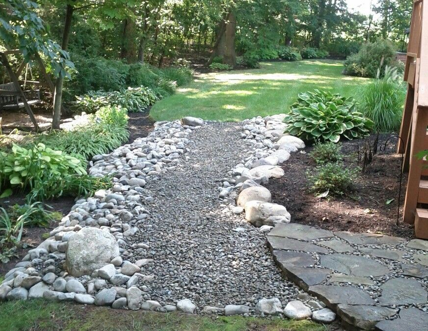 River stone walkway | Landscaping with rocks, Backyard ...