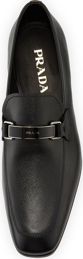 50fc101bc0ff Prada Saffiano Leather Bit Loafer, Black | Shoes | Shoes, Black ...