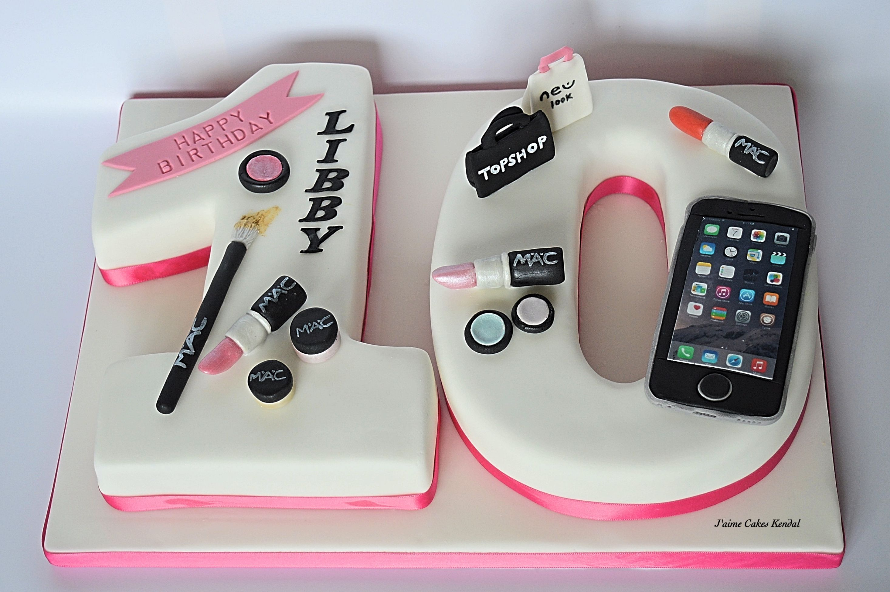 number 10 cake girls birthday Mac makeup I phone 6 shopping
