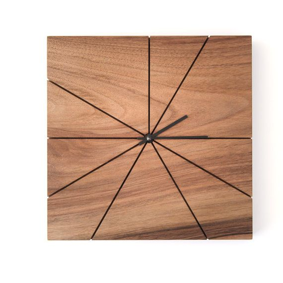 Wood Wall Clock   Unique Wall Clock   Wood Wall Decor   Modern Home Decor   Modern  Wall Clock   Square   Walnut.