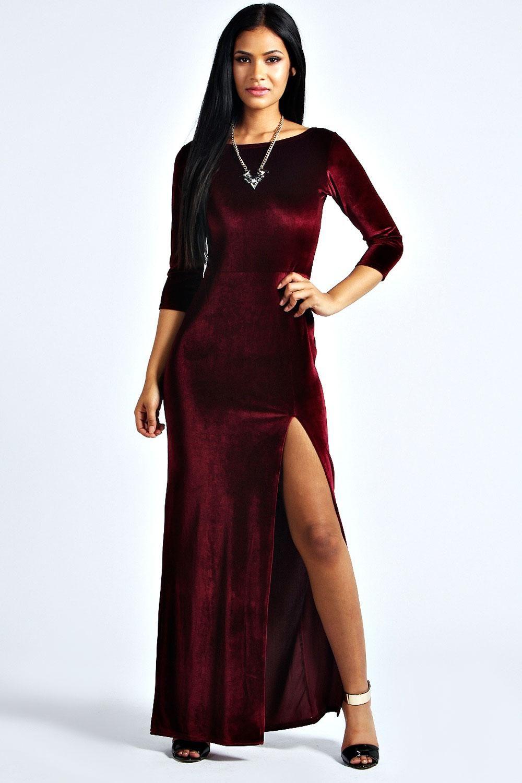 Velvet long sleeve maxi dress in velvet fashion pinterest
