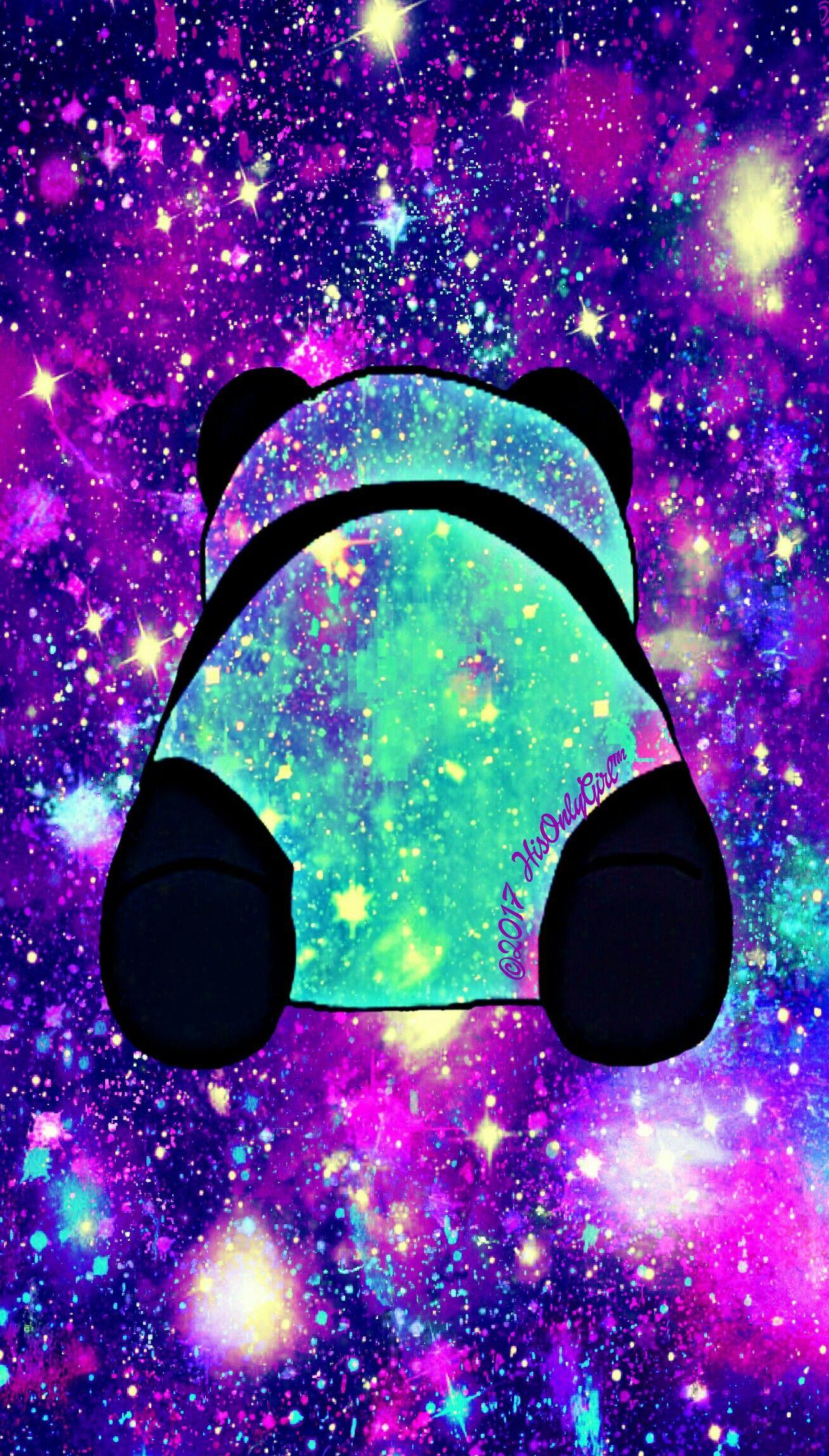 Purple Panda Cheeks Galaxy Wallpaper I Created For The App Cocoppa Cute Panda Wallpaper Panda Wallpapers Cute Galaxy Wallpaper