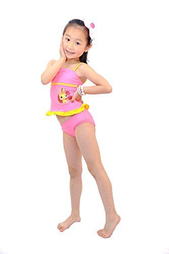 e6873b1ee1 Wengift Swimwear Wengift Little Girls' Bunny Two Piece Bikini Swimsuit for 2 -6 Years Old