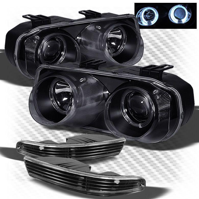 For 94-97 Integra Halo Black Projector Headlights + Black