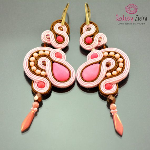 Pink Sunset Long Pink Brown Dangle Soutache by OzdobyZiemi