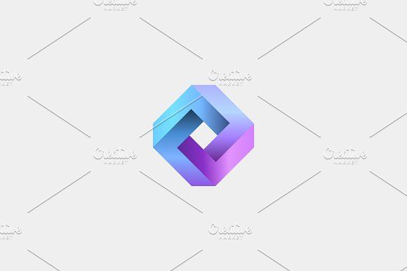 Abstract infinity cube logo design template. Geometric gradient logotype. Universal rhomb vector icon symbol. by Bureau on @Graphicsauthor